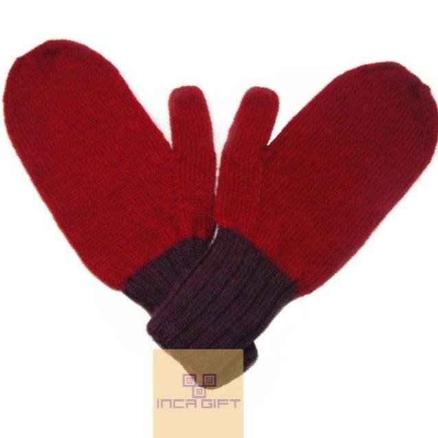 Red-Purple Handmade Alpaca Mittens