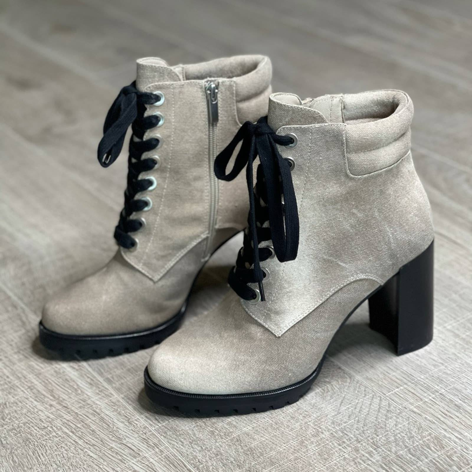 PAIGE Nicole Taupe Tie Dye Lace Up Boot