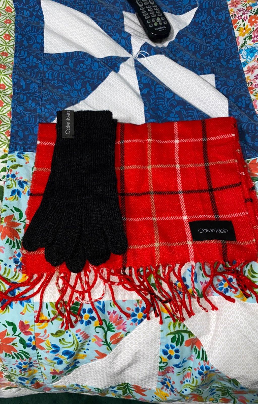Calvin Klein gloves and scarf