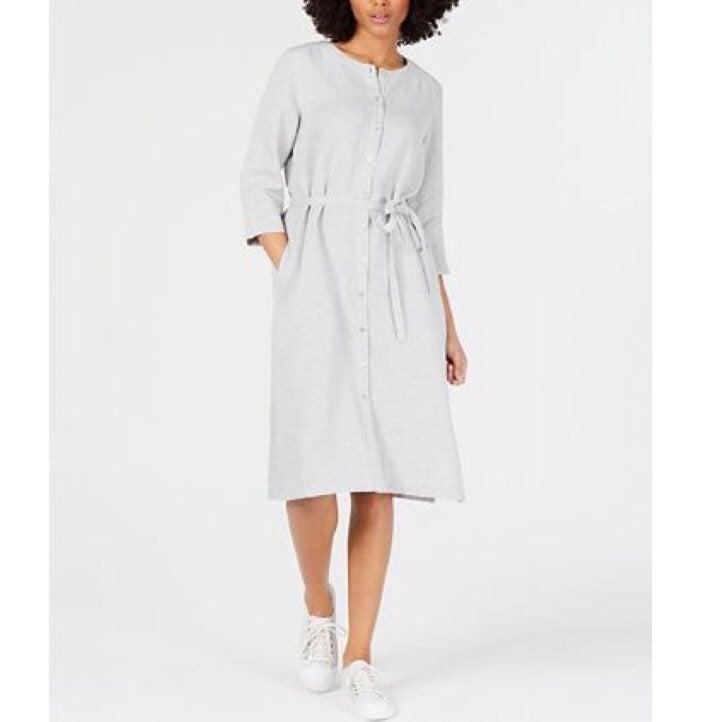 Eileen Fisher Organic Linen Belted Dress