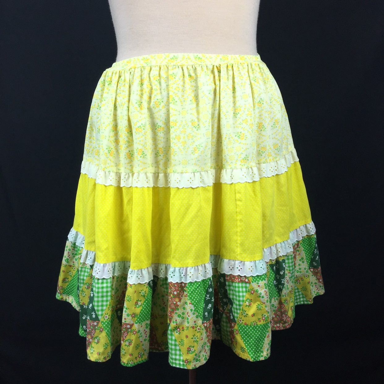 Vintage Tiered Patchwork Prairie Skirt