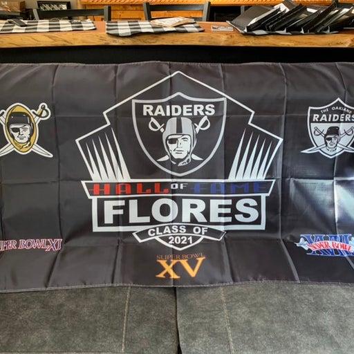 RAIDERS TOM FLORES-Hall of Fame Flag