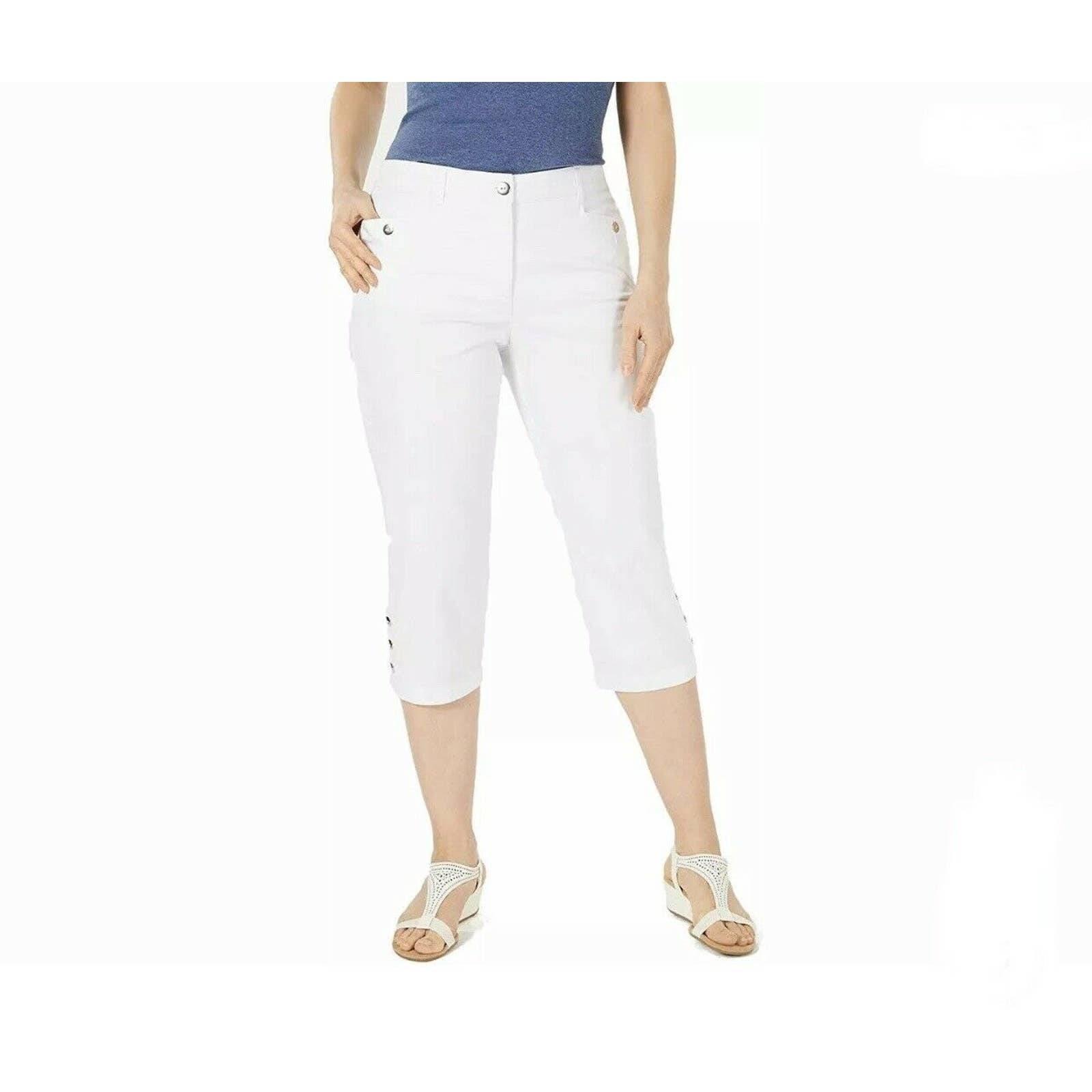 Karen Scott Capri Pants 8 Button Hem NEW
