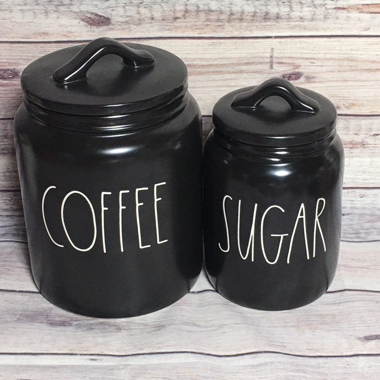 Rae Dunn COFFEE SUGAR Black Canisters