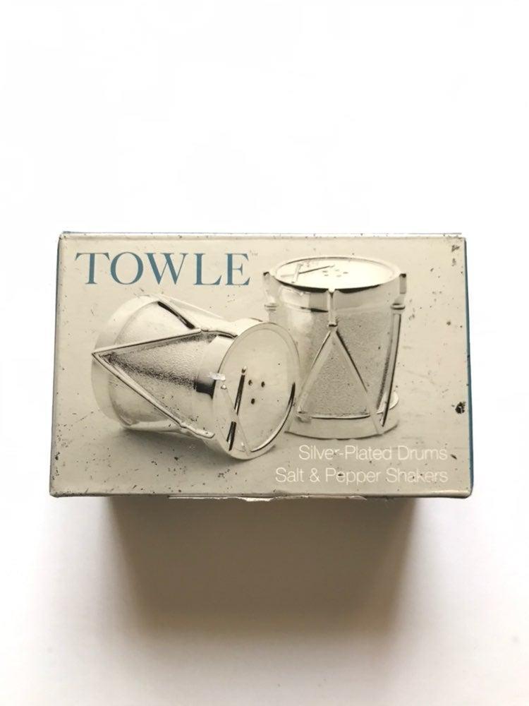 NWOT Towle® Silverplated Drum Set Salt &