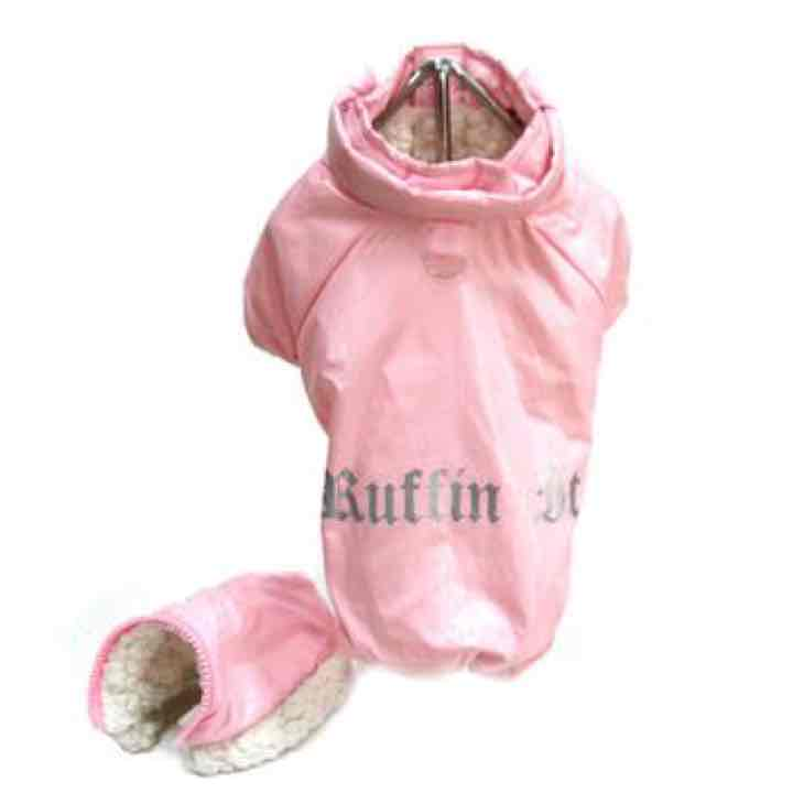 Pink Ruffin It Dog Snow Suit Harness L