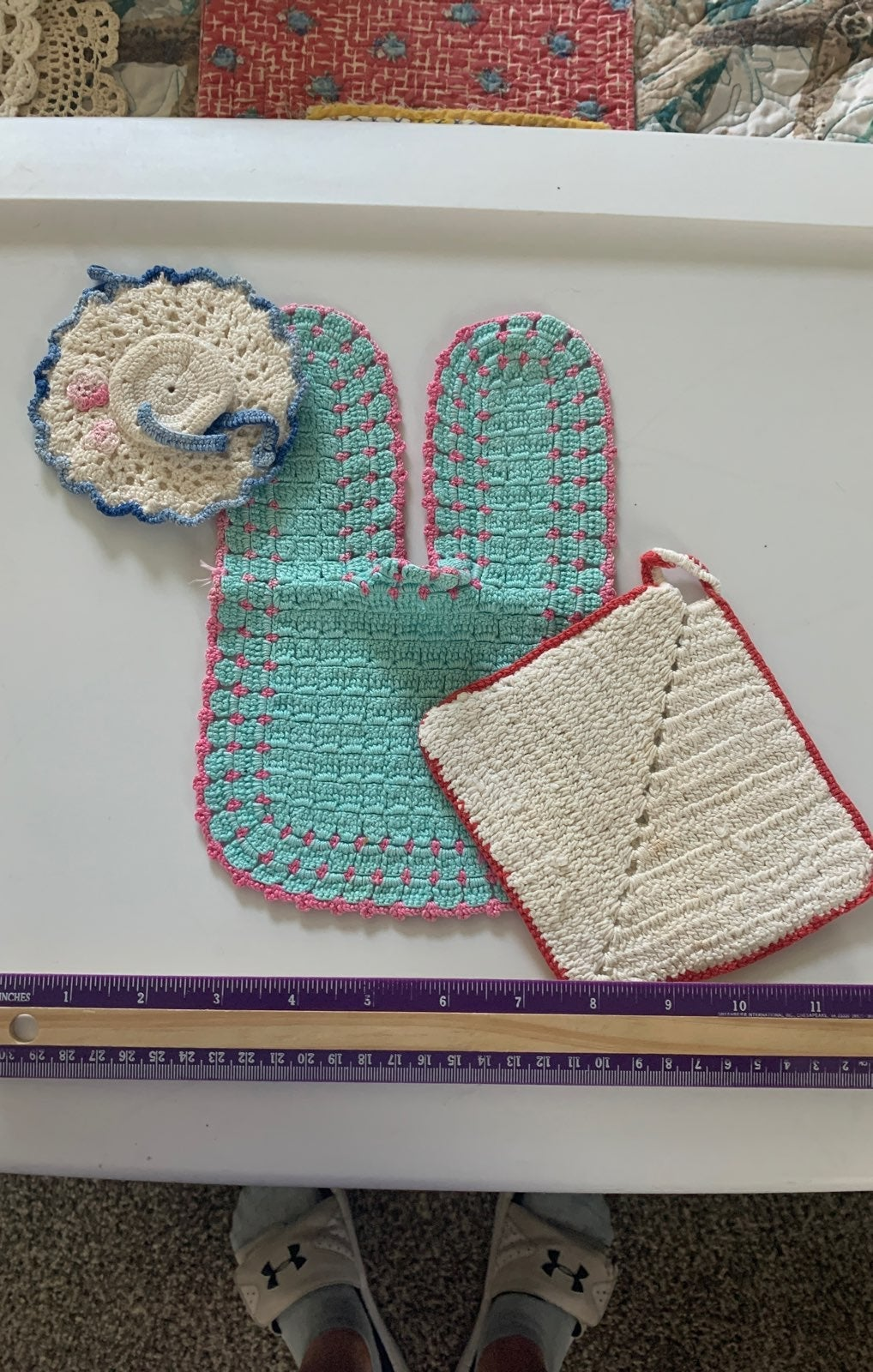 Beautiful vintage handmade potholders x3