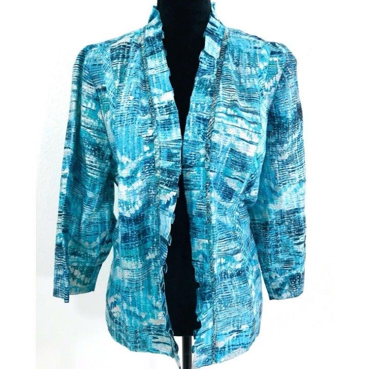 Chico's 3 Linen Blazer Jacket Blue XL