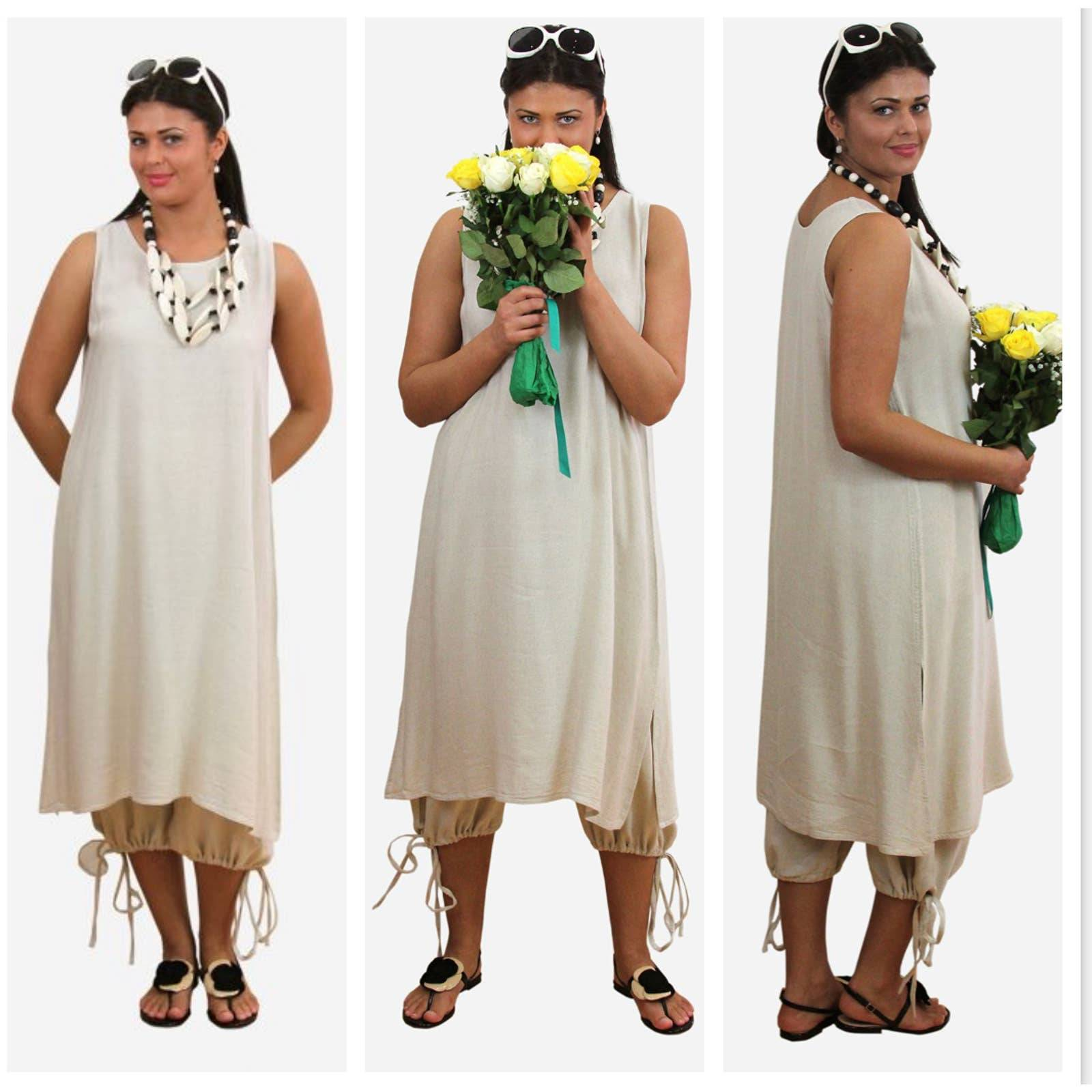 Linen Minimalist Midi Tank Dress