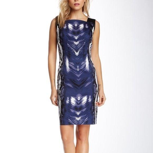 Tahari  Snakeskin Faux Leather Dress