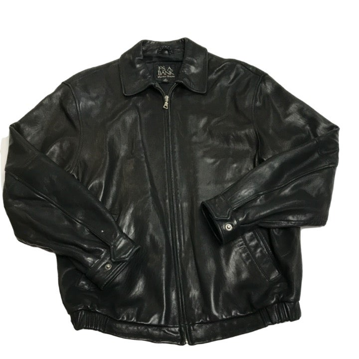 Jos. A. Bank Black Leather Bomber Jacket