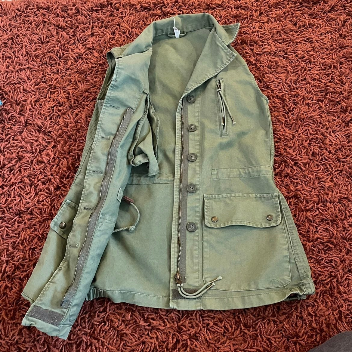Womens utility army vest olive green
