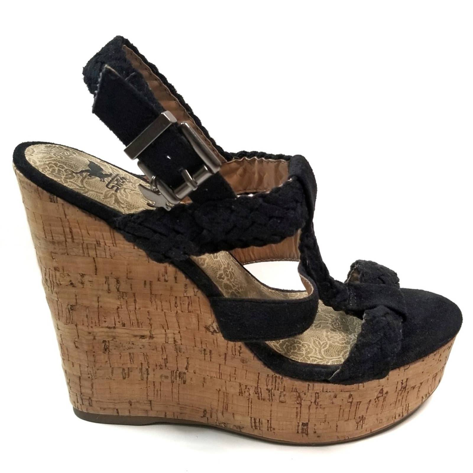 Black Braided Cork Look Wedge Heels