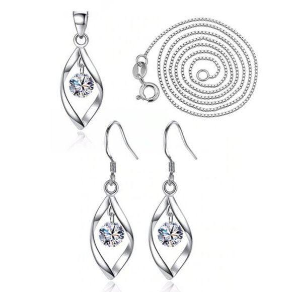 [Set of 2]925 Silver Diamond Waterdrop