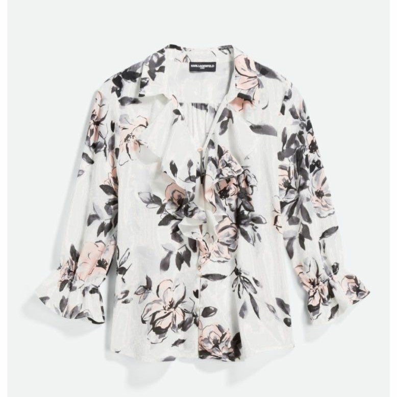 KARL Lagerfeld floral blouse large NWT