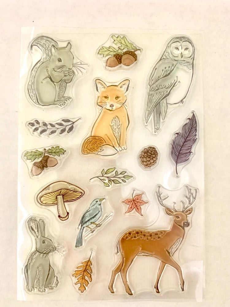 CLEAR woodland animals stamps 15pc set