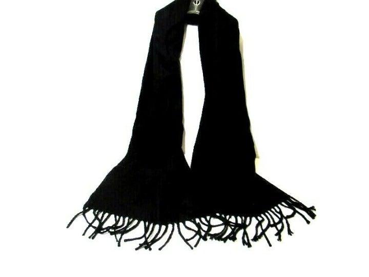 Solid Black Long Scarf Tassel Fringe