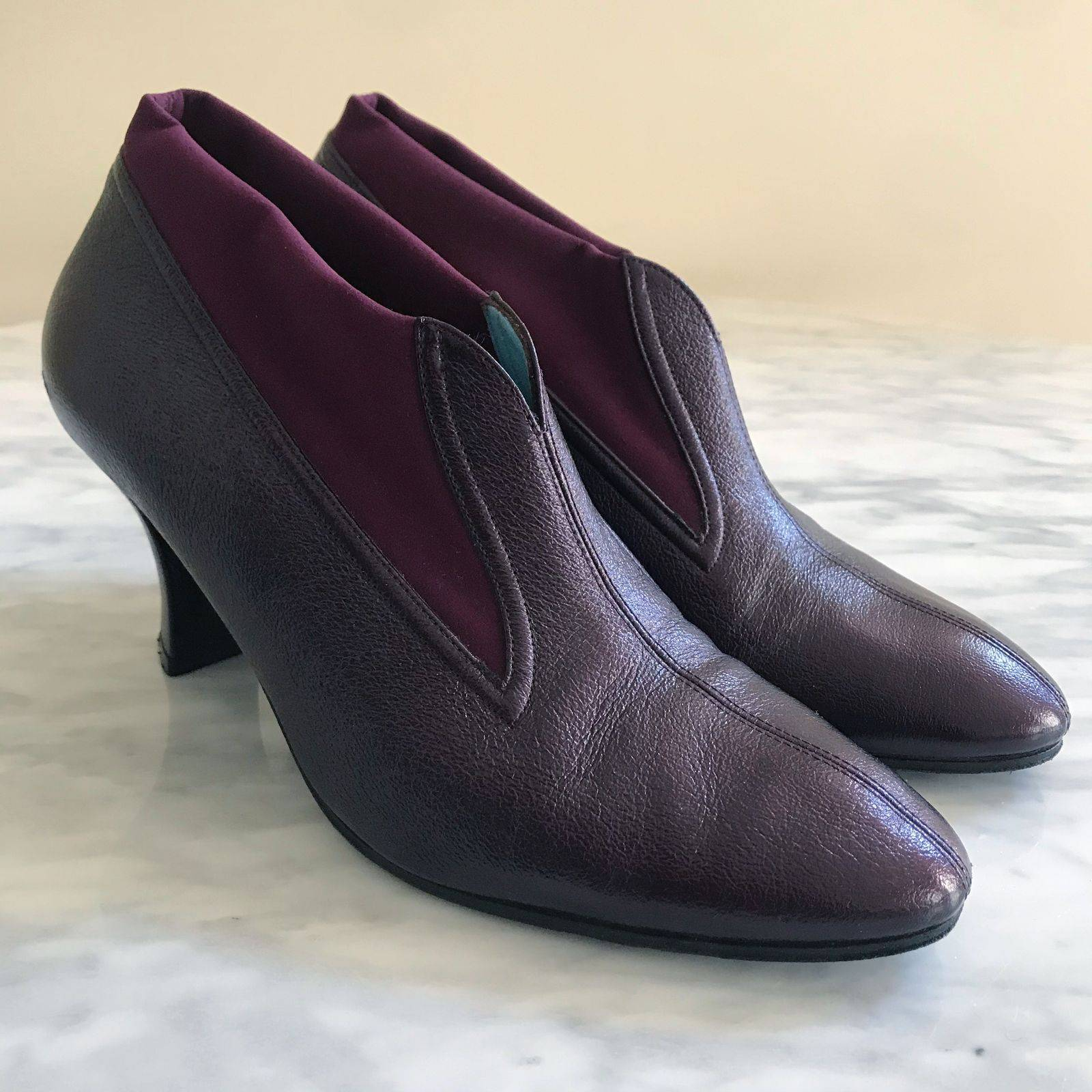 Thierry Rabotin Metallic Maroon Booties