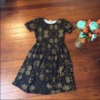 be18f5ab9 Lularoe Amelia Black Tan Pocket Dress S