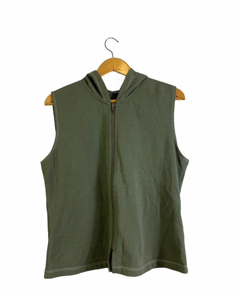 J Jill Sleeveless Hooded Vest Full Zip