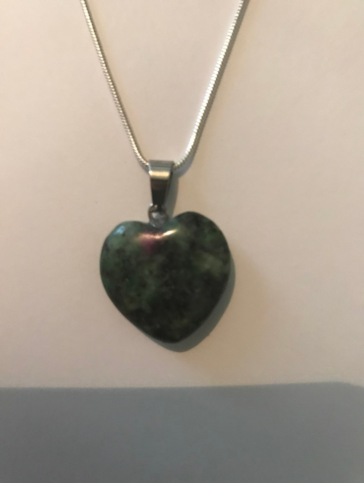 Agate heart necklace with chain