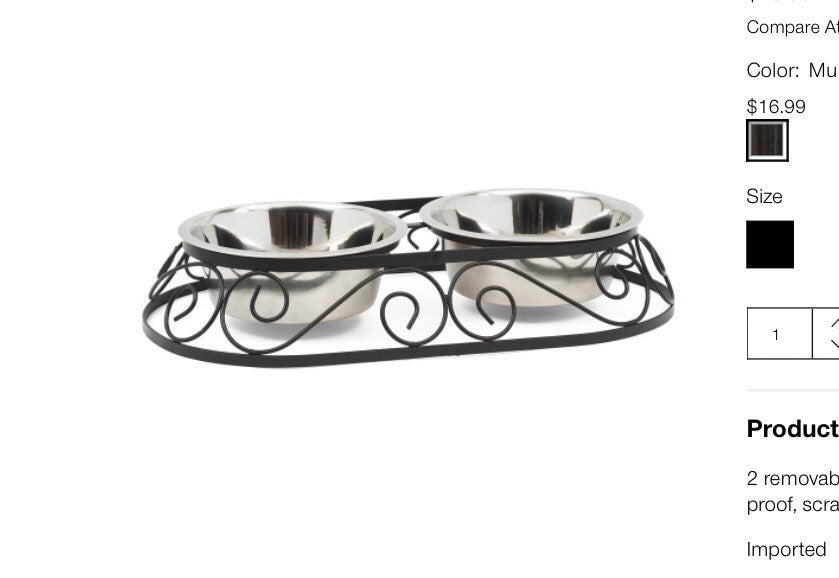 Crown wrought iron and silver pet feeder