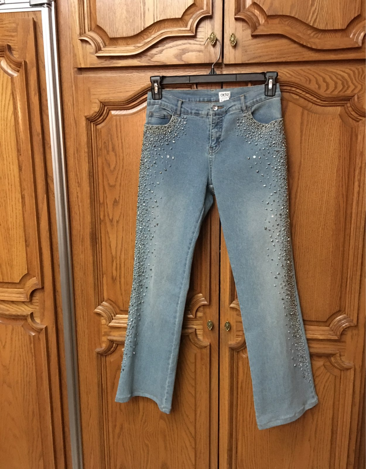 Cache silver beaded embellished jeans