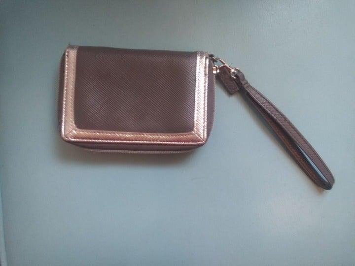 Cute faux leather grey & silver wristlet