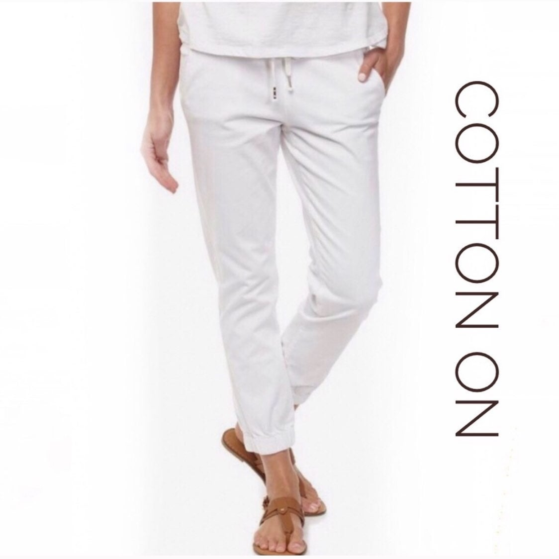 """Cotton On """"The Cuffed Chino"""" White Pants"""