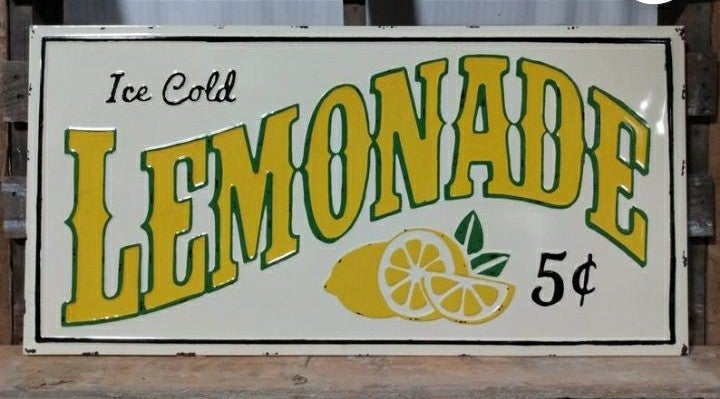 Farmhouse metal Lemonade sign