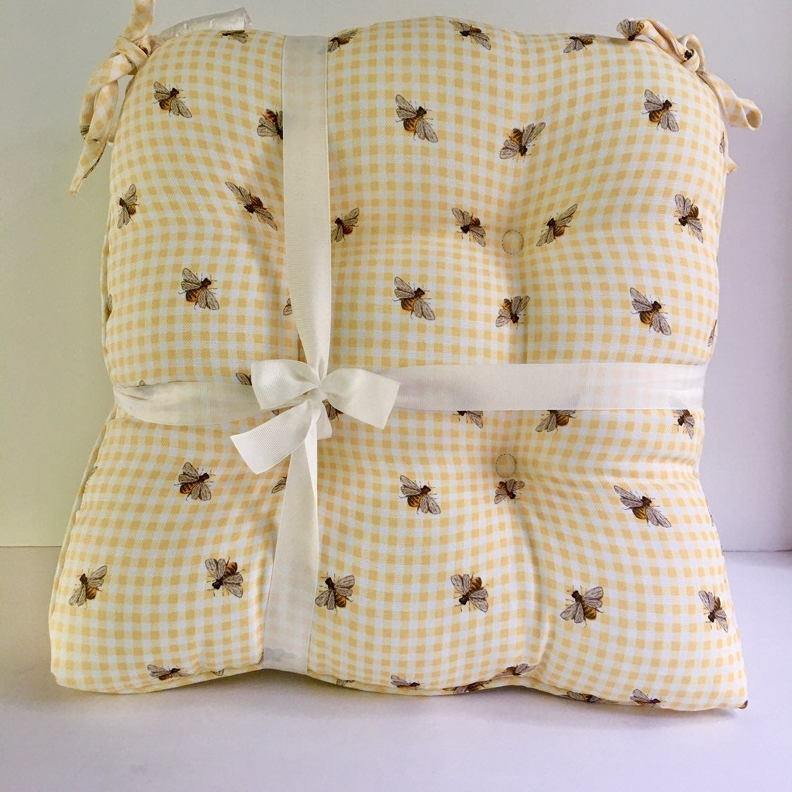 Pair of Yellow Checkered Bee Chair Pads
