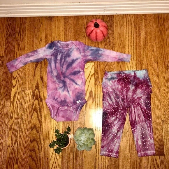 "Tie Dye Boho Baby Girls Set -""Berry Pres"