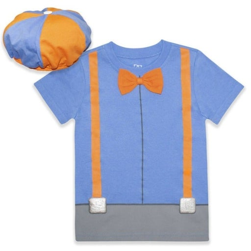 Blippi Roleplay Shirt and Hat. Roleplay Set with  Bow Tie and Printed Suspenders