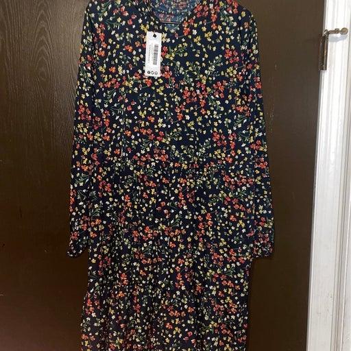 Floral Print Smock Midi Dress