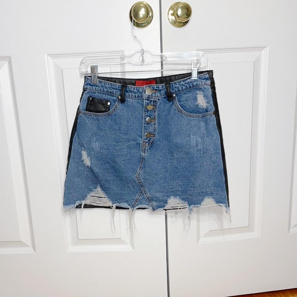 Signature 8 women's jean leather skirt