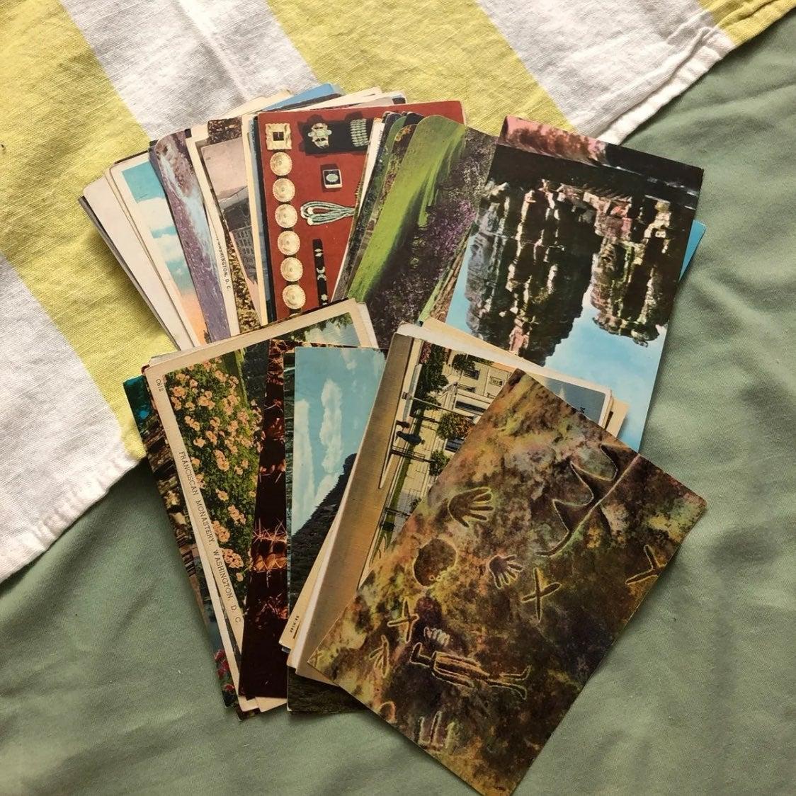 Lot of 60 vintage postcards crafting