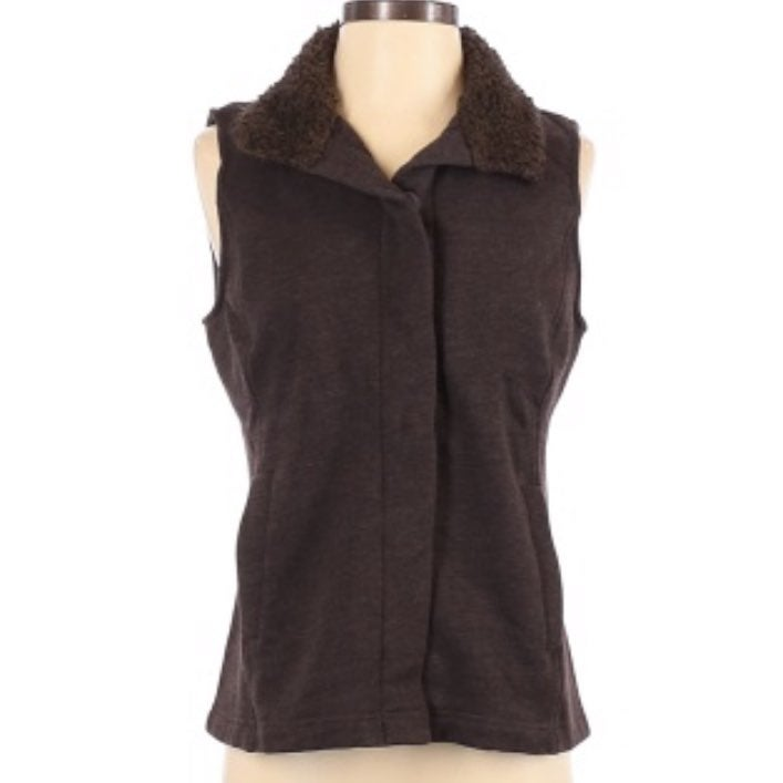 J. Jill Women Brown Button Front Vest