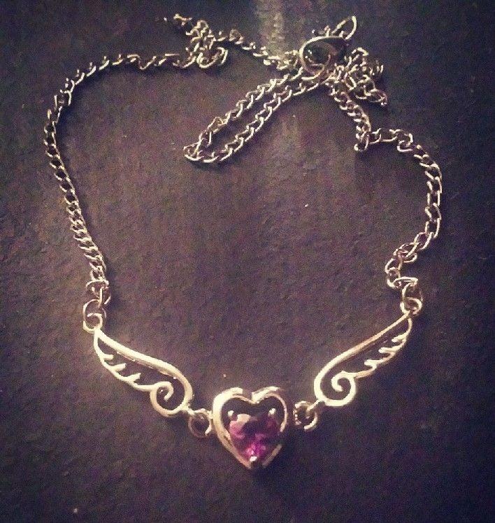 Purple heart wings necklace