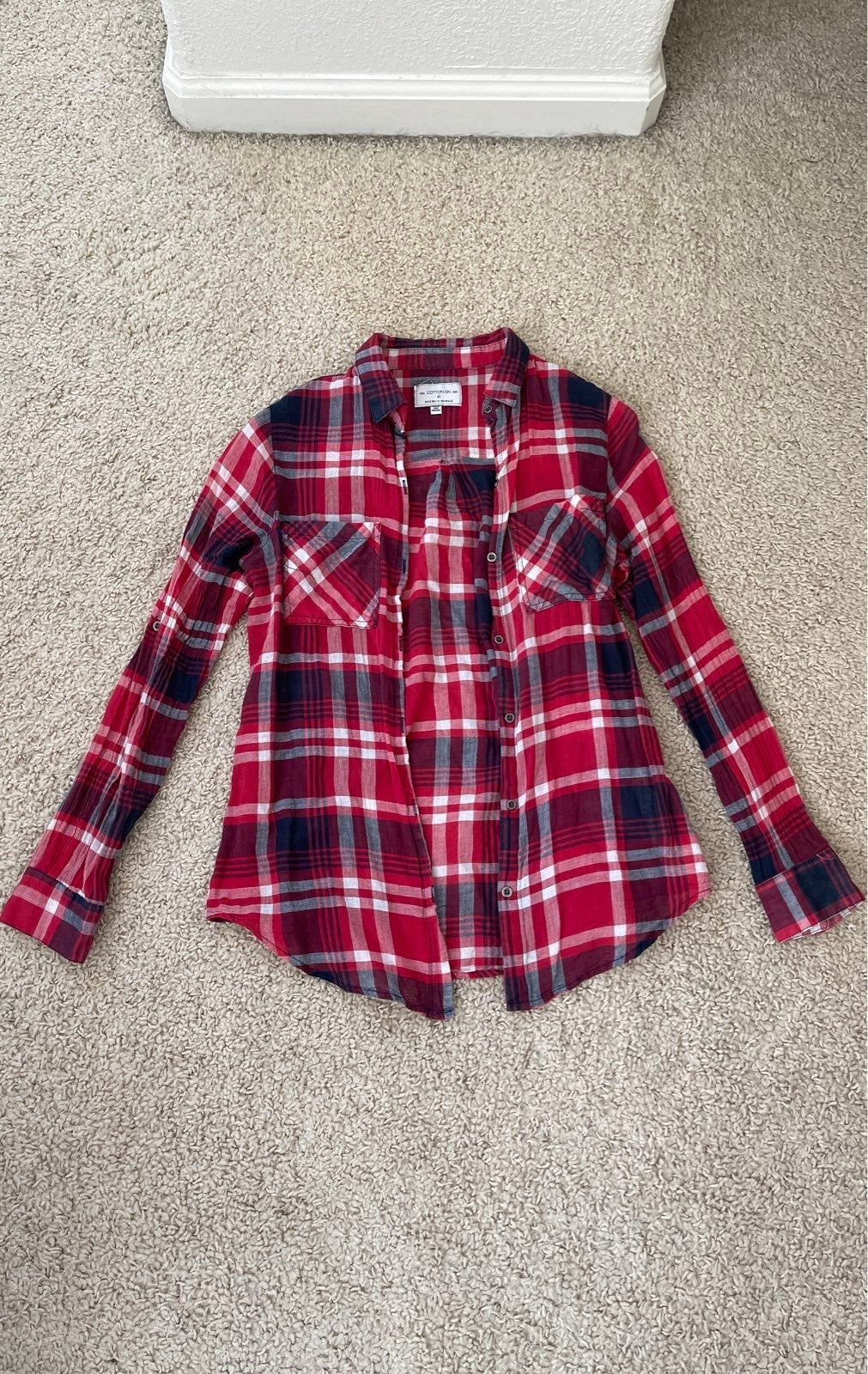 Cotton On Plaid Red Flannel Size XS