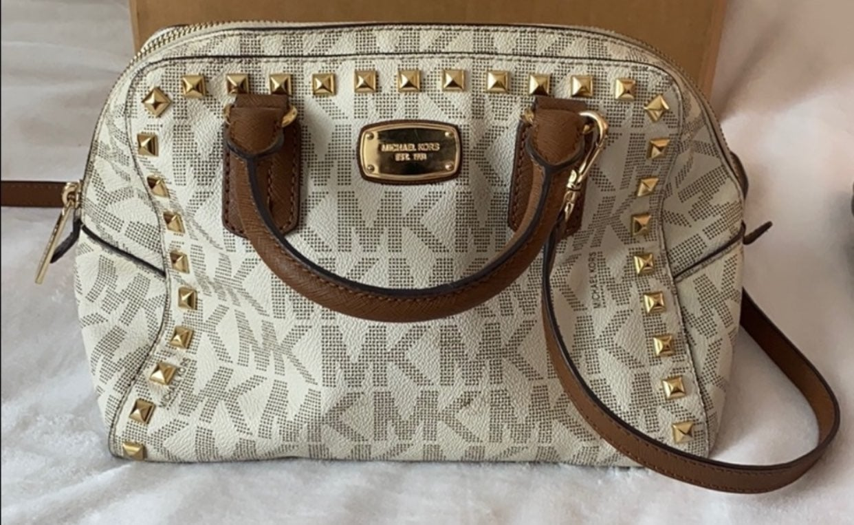 Authentic white brown studded crossbody