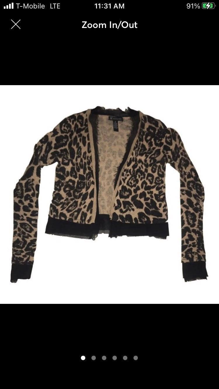 INC cheetah cardigan