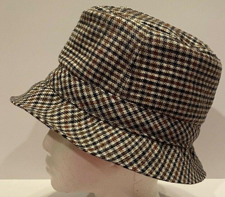 Vtg Borsalio Houndstooth Plaid Derby Hat