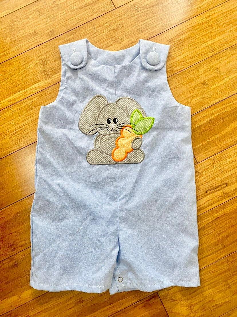 Easter Bunny Applique Shortall 18M NWT