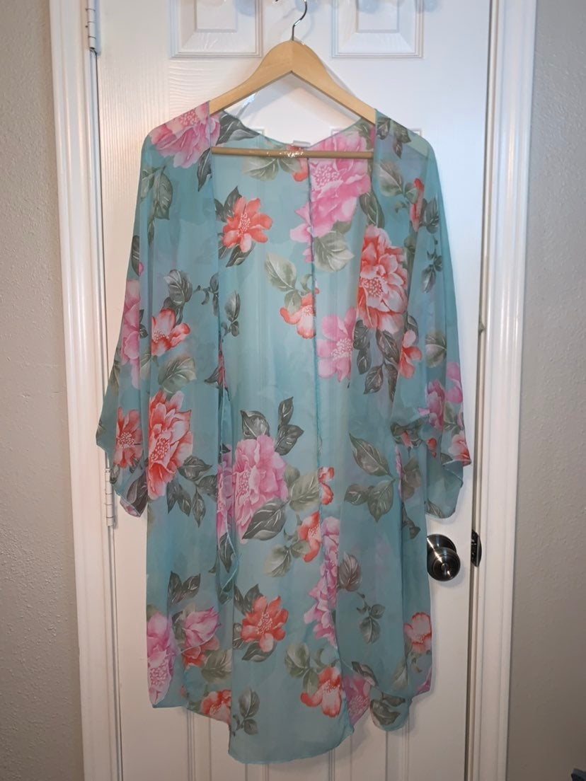 Pinkblush Plus Size Floral Open Tunic
