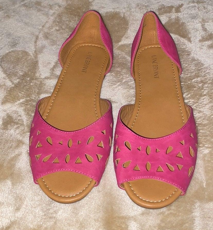 Lane Bryant Pink Peep Toe Flats Size 11