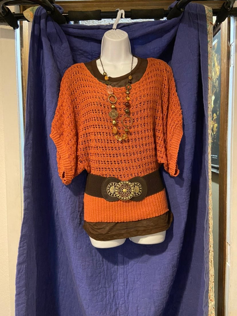 Knit top with brown T & belt + FREE neck