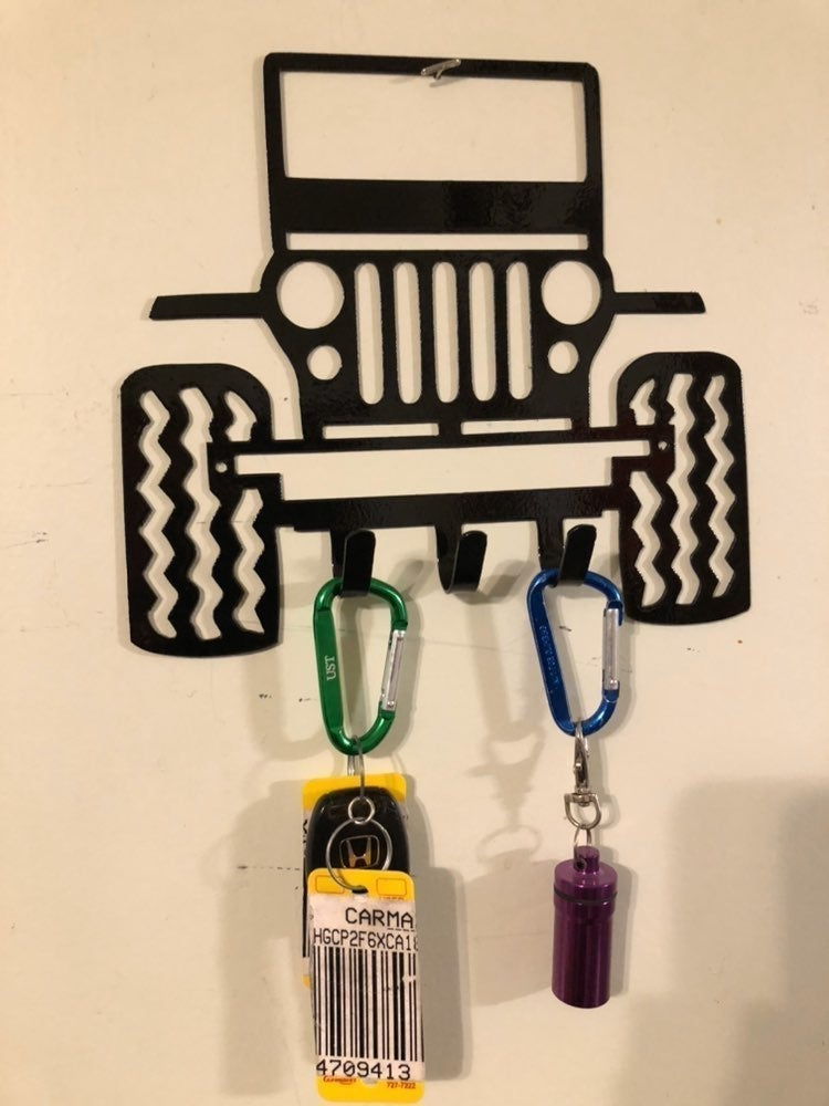 Jeep key rack with hooks in Black