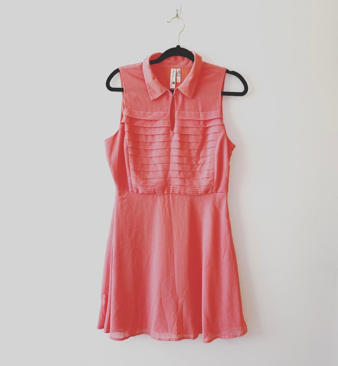 Pink Owl Pink Pleated Collared Dress