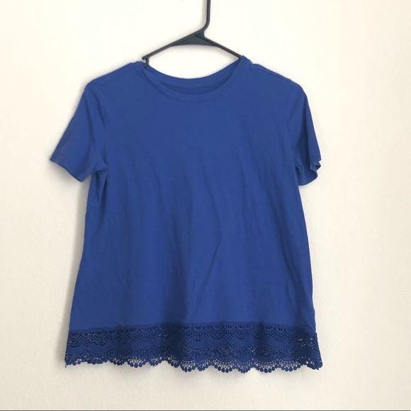 Old Navy Stunning Blue Crochet Trim Tee