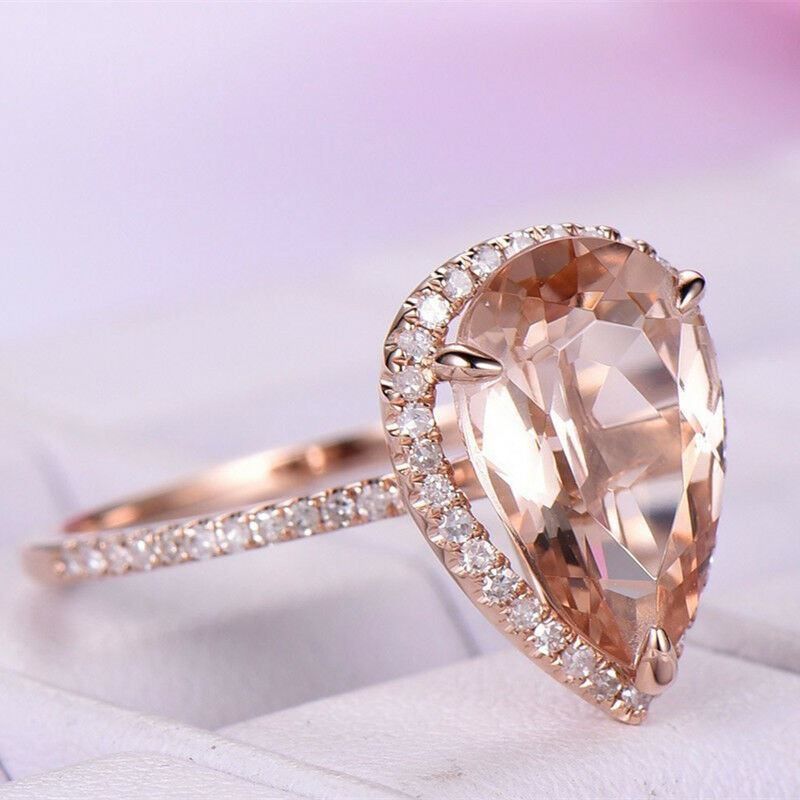 925/18K ROSEGOLD TEAR DROP RING SIZE 8
